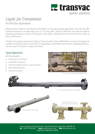Liquid Jet Compressors for Oil & Gas