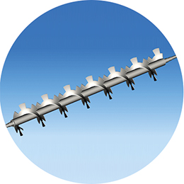 Screw conveyor with external cut -paddles
