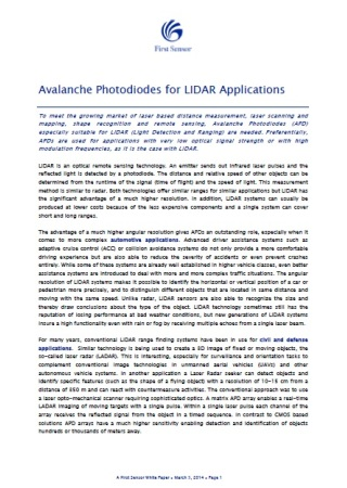 Avalanche Photodiodes for LIDAR Applications