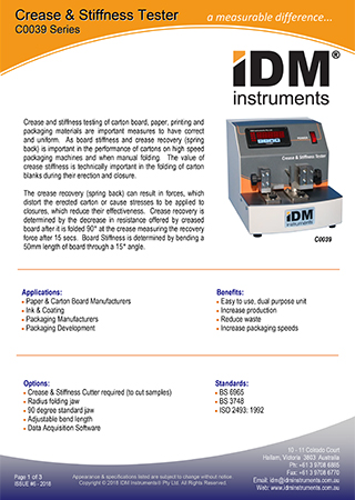 C0039 series crease stiffness testers