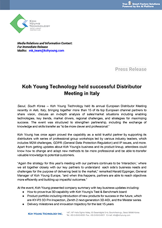 Koh Young Technology held successful Distributor Meeting in Italy