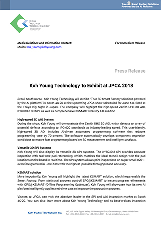 Koh Young Technology to Exhibit at JPCA 2018