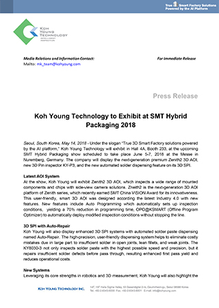 Koh Young Technology to Exhibit at SMT Hybrid Packaging 2018