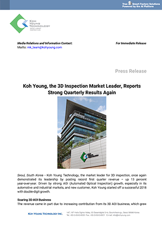 Koh Young the 3D Inspection Market Leader, Reports Strong Quarterly Results Again