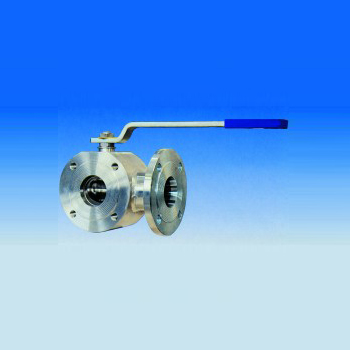 "Three-way ball valve ""wafer"" type with two seats reduced bore"
