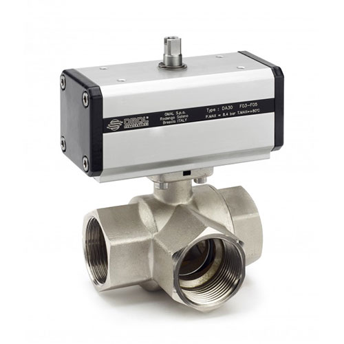 Double Acting Pneumatically Actuated 3 Way L‐Port ball valve